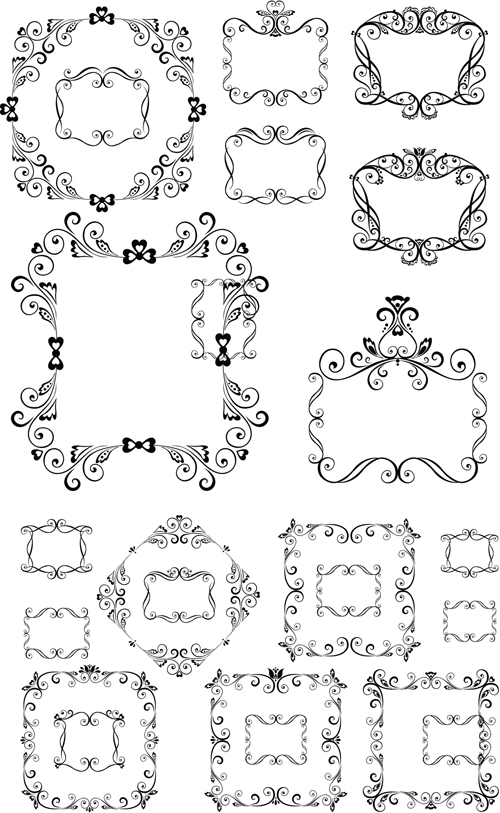 Various Swirl Templates Frame vector