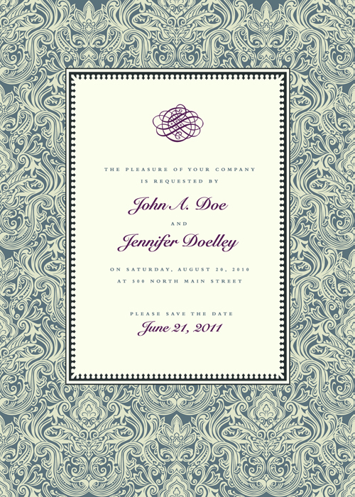 Vintage Floral invitations cover design vector 02