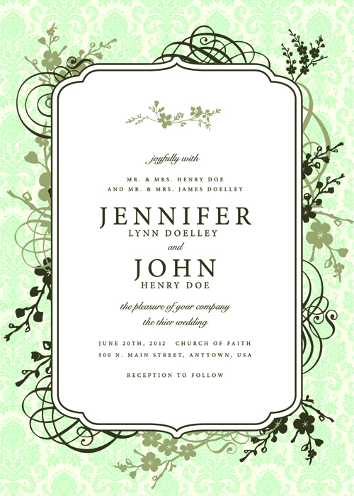 Vintage Floral invitations cover design vector 05