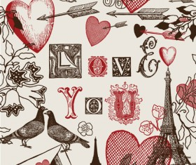 Romantic love Theme elements vector set 02