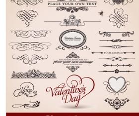Romantic love Theme elements vector set 03