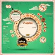 Vintage style garbage label design elements vector 02