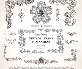 Set of Vintage design elements vector Borders 01