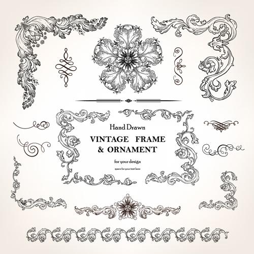 set of vintage design elements vector borders 01 free download