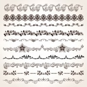 Link toSet of vintage design elements vector borders 02