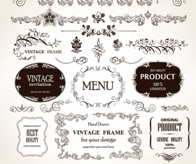 Set of Vintage design elements vector Borders 03