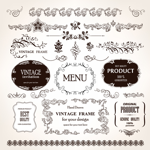 Set of Vintage design elements vector Borders 03