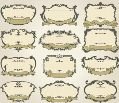 Set of Vintage frameworks elements vector 01 - Vector Frames ...