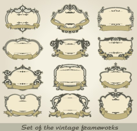 Set of Vintage frameworks elements vector 03