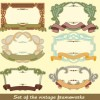 Set of Vintage frameworks elements vector 04