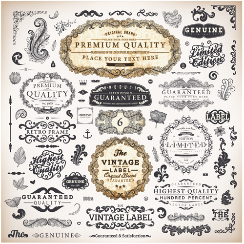 Vintage label and Ornaments design vector set 01