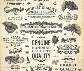 Vintage label and Ornaments design vector set 02