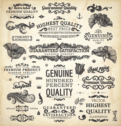Vintage label and Ornaments design vector set 02