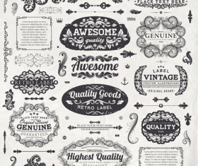 Vintage label and Ornaments design vector set 03