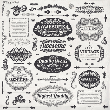 Vintage label and Ornaments design vector set 03