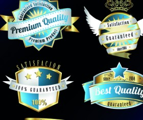 Vintage quality and premium labels vector 03