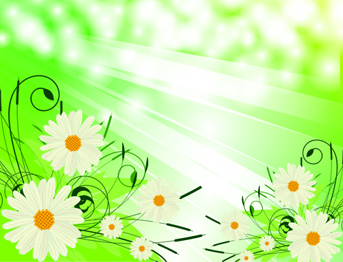 Bright Background with flowers design vector 01 free download