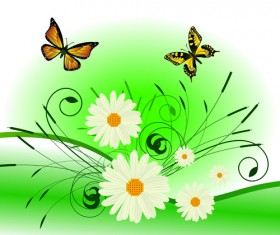Bright Background with flowers design vector 02