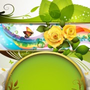 Link toFresh flowers and butterfly with background vector 02