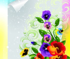 Bright Background with flowers design vector 03