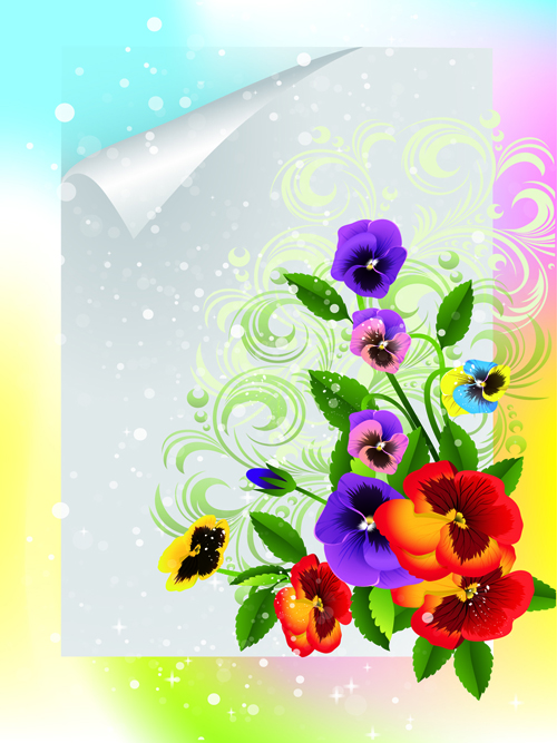 Bright Background with flowers design vector 03 free download