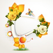 Link toFresh flowers and butterfly with background vector 03