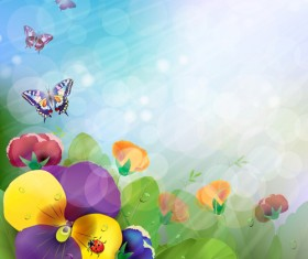 Bright Background with flowers design vector 05