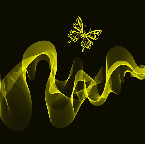 Black Background with Bright butterfly vector graphic 02