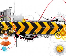 Construction Warning signs Background design vector 02