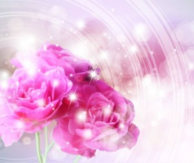 Points of light background with flowers vector set 01