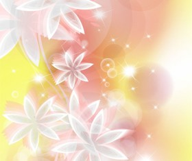 Points of light background with flowers vector set 02