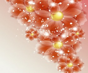 Points of light background with flowers vector set 03