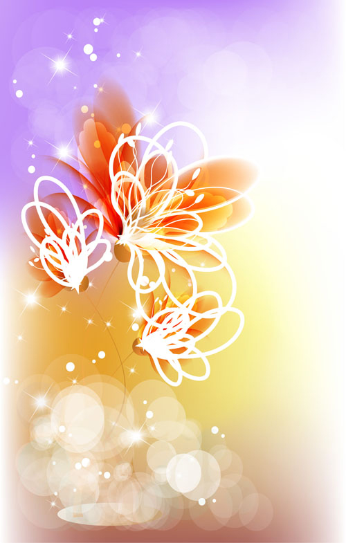 Points of light background with flowers vector set 04