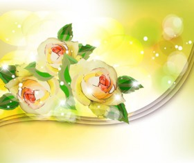 Points of light background with flowers vector set 05
