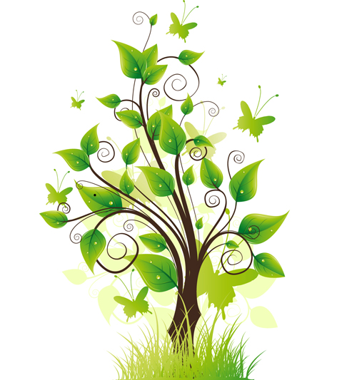 Elements Of Fresh Green Vector Backgrounds 05 Vector
