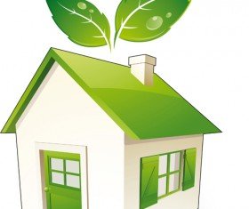 Set of Green Eco House vector 02