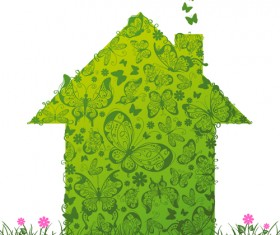 Set of Green Eco House vector 03