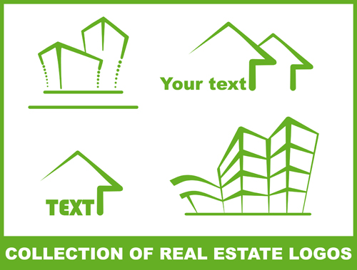 Set of Green Eco House vector 05