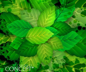 Green leaves concept background elements vector 01