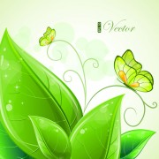 Link toShiny green leaves background design vector 01