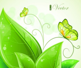 Shiny Green leaves background design vector 01