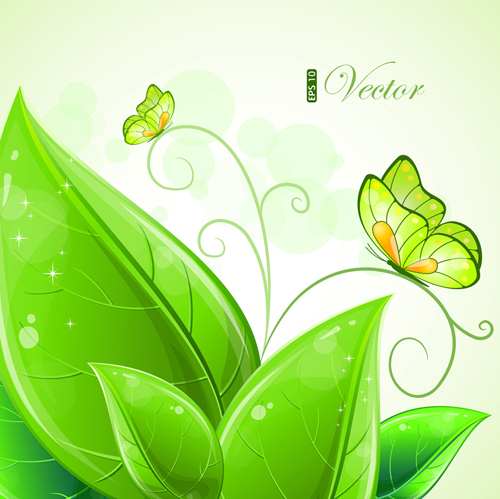 Shiny Green Leaves Background Design Vector 01 Vector