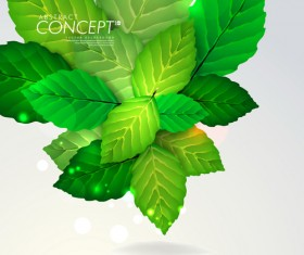 Green leaves concept background elements vector 02