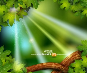 Shiny Green leaves background design vector 02
