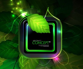 Green leaves concept background elements vector 03