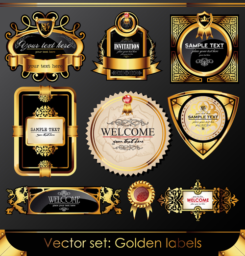 Set of Luxury golden label design vector 01 - Vector Label free ...