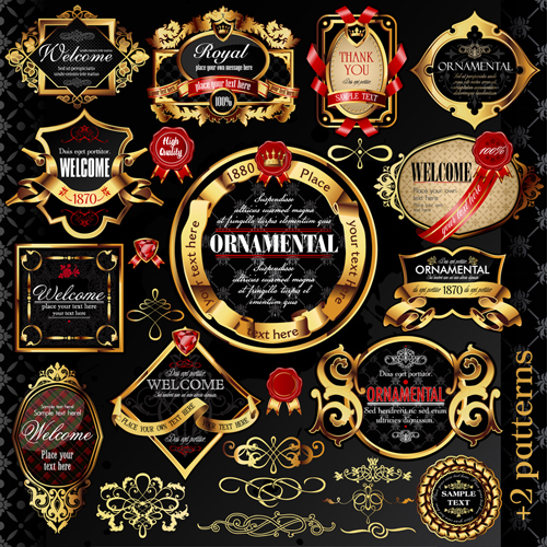 Set of Luxury golden label design vector 04 - Vector Label free ...