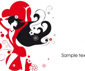 Beautiful Lady in red vector set 01