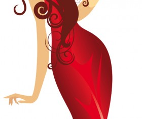 Beautiful Lady in red vector set 05
