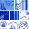 Different Marine pattern design elements vector 03